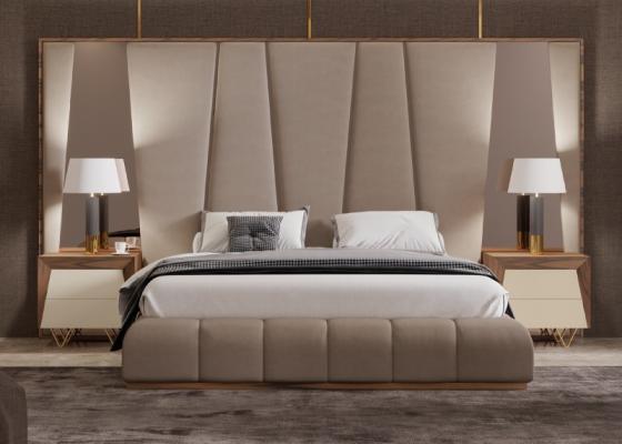 Dormitorio de diseño XXL tapizado con detalles en madera de nogal americano. Mod: HANANE