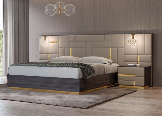 Dormitorio de diseño en madera de ébano con cabecero tapizado y detalles en acero inox.Mod: SALMA