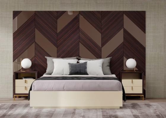 Dormitorio de diseño XXL  en madera de ébano y detalles de espejos en el cabecero.Mod: YASSIRA