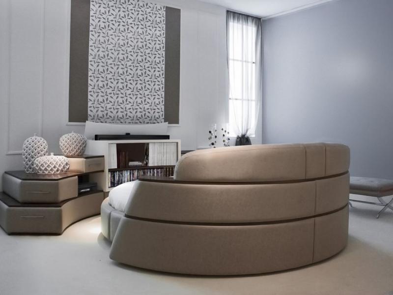 Composición completa cama circular giratoria y mueble librería