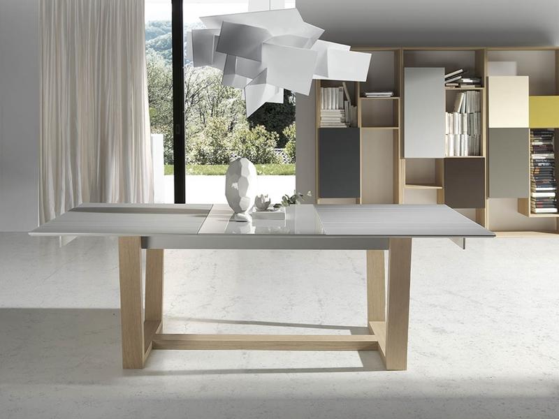 Mesa de comedor de diseno extensible con cristal ref for Mesa diseno cristal