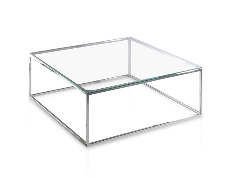 Mesa de centro en acero cromado con tapa en madera o cristal. Mod. AMINA