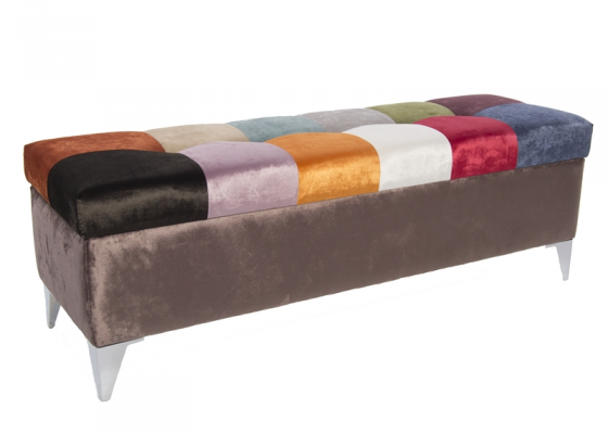 Arcón tapizado estilo patchwork. Mod. VENEZIA