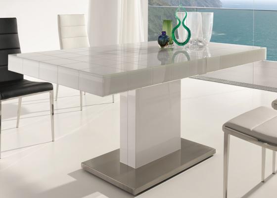 Mesa de comedor extensible con tapa de cristal base en - Mesas de comedor de cristal y acero ...