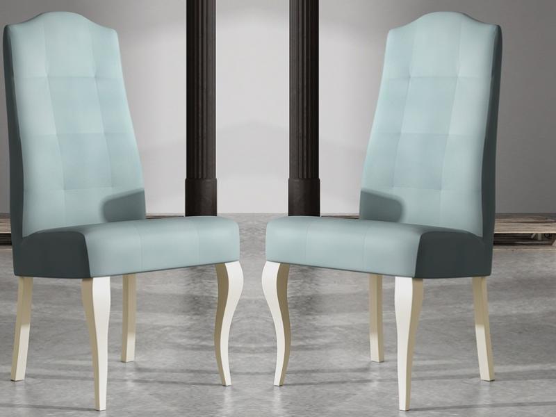 Juego de 2 sillas tapizadas y lacadas., mod: ROYAL