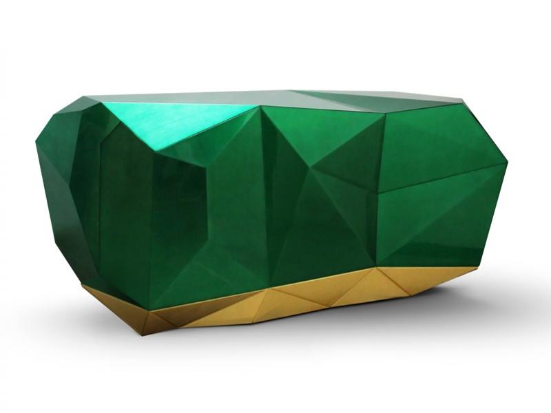 Aparador de dos puertas y cajones, mod: DIAMOND ESMERALADA
