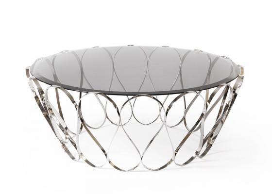 Mesa de centro en acero inoxidable y tapa cristal, mod: ACUARIO