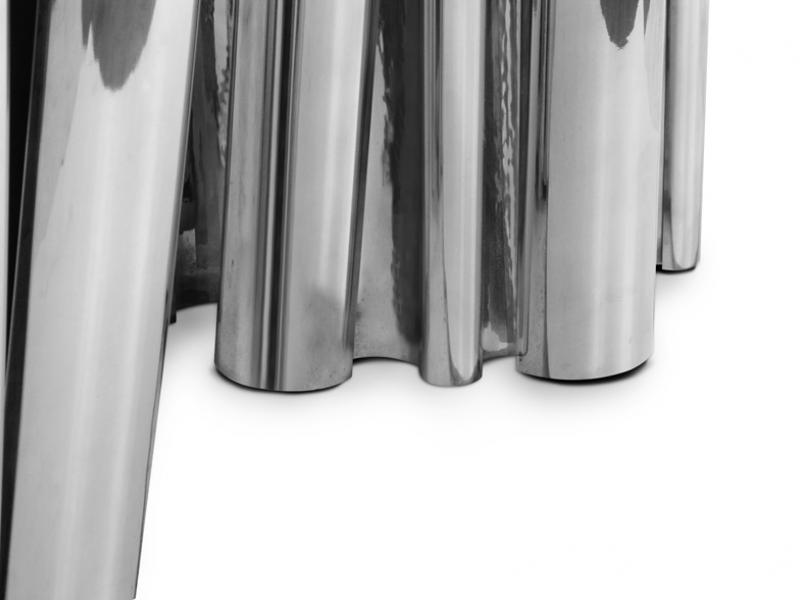Mesa de comedor acabada en aluminio , mod: FORTUNE ALUMINIO