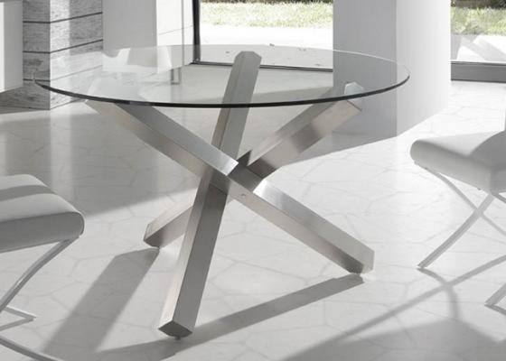 Mesa comedor redonda de 90 cm de cristal con patas for Mesa cristal 90 cm