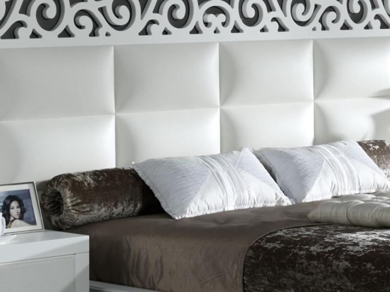 Cabecero lacado y tapizado, mod: CASSANDRA BLANCO