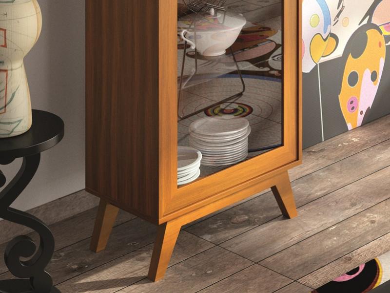 Vitrina de estilo vintage con estantes de cristal. Mod. FRIDA