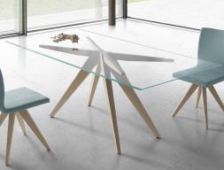 Mesa de comedor con tapa de cristal, mod: AUGUST