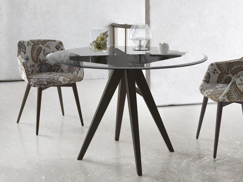 Mesa de comedor redonda con tapa de cristal biselado mod - Mesas redondas cristal comedor ...