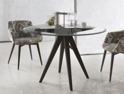 Mesa de comedor redonda con tapa de cristal biselado, mod: AUGUST REDONDA