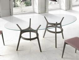 Mesa de comedor con tapa de cristal ovalado, mod: LEGER DOBLE
