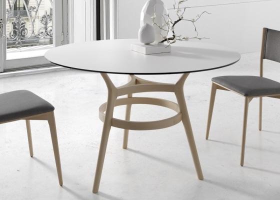Mesa de comedor con tapa de cristal redondo, mod: KURT