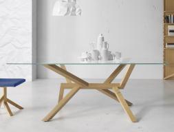Mesa de comedor con tapa de cristal, mod: TREE WOOD BC