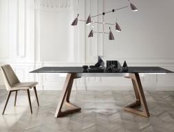 Mesa de comedor extensible con tapa de cristal templado, mod: NIL