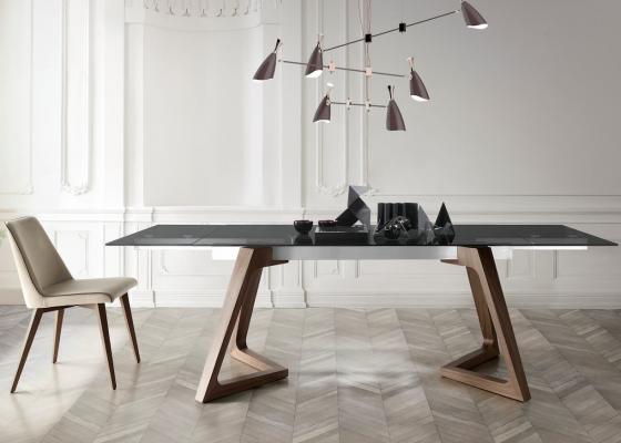 Mesa de comedor extensible con tapa de cristal templado, mod: NAOMI