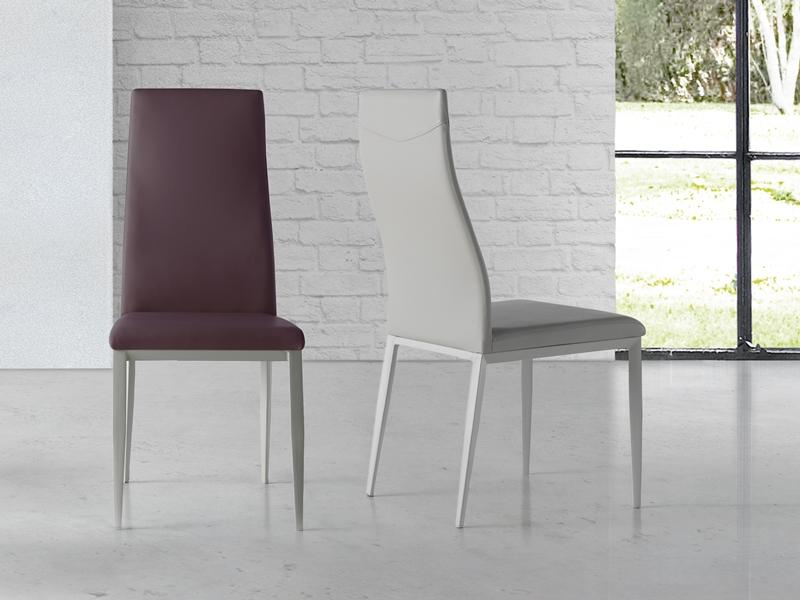 Juego de  2 sillas tapizadas con patas met�licas. Mod. NESO