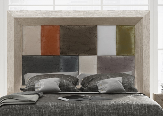 Cabecero roble tapizado  estilo patchwork, mod: ENZO48844PTW
