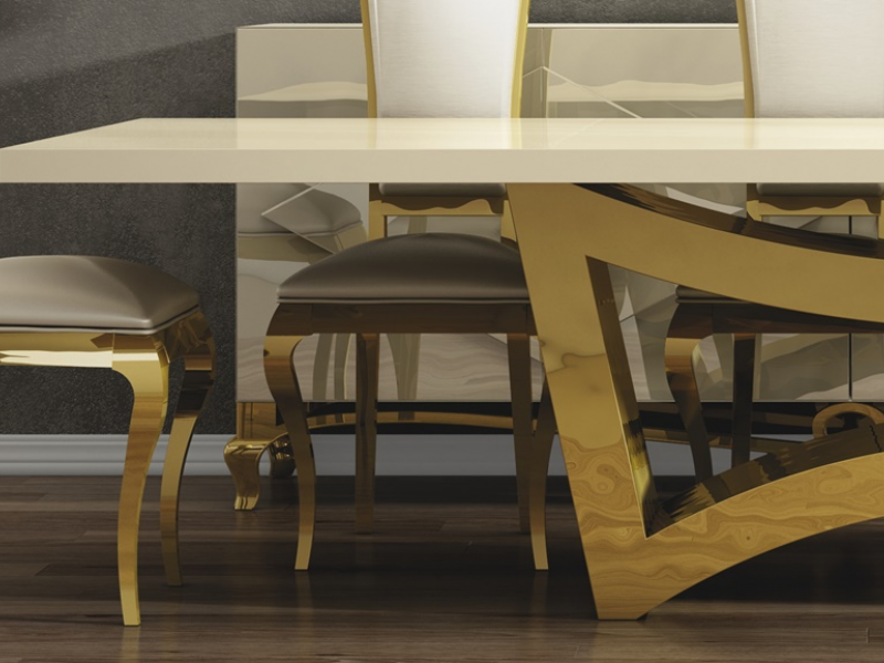 Mesa de comedor fija tapa madera. Mod: CHARLOTTE