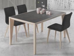 Mesa de comedor extensible con tapa cerámica, mod: IO