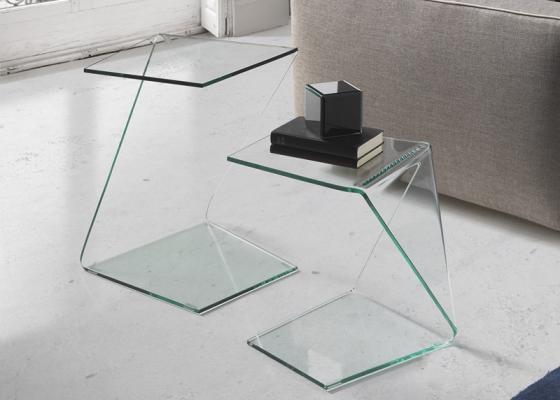 Conjunto de mesas de rincón en cristal , mod: BARUC