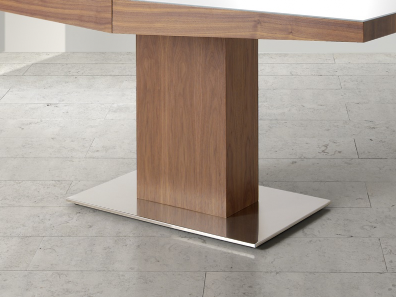 Mesa de comedor extensible con tapa cristal, mod: DORIAN CRISTAL