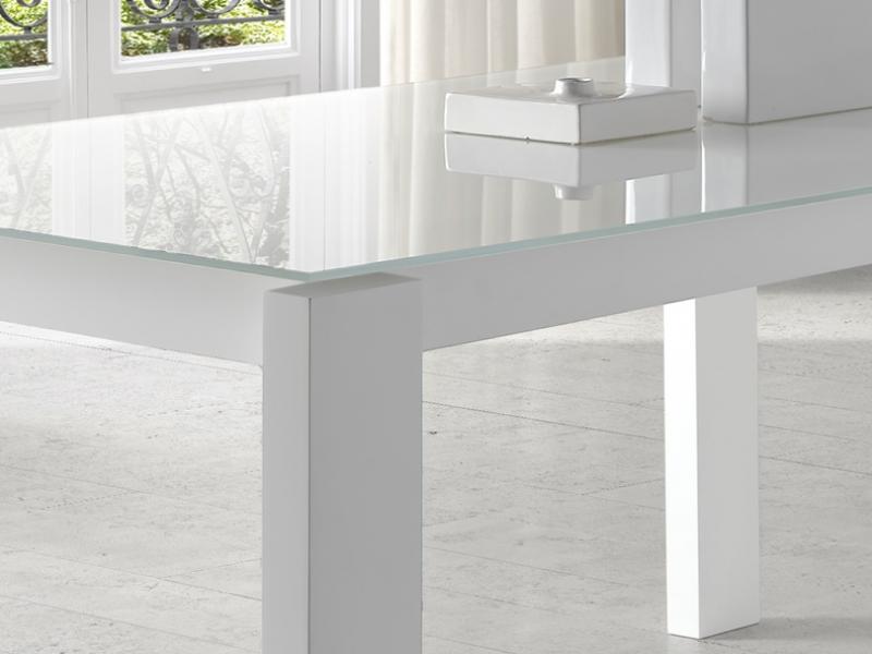 Mesa de comedor extensible con tapa cristal, mod: INFINITY
