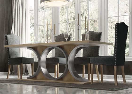 Mesa de comedor fija con tapa de madera, mod: GARONNE