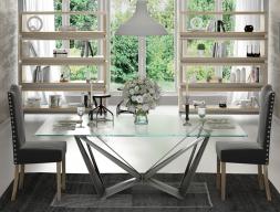 Mesa de comedor fija con tapa de cristal templado. Mod: LOIRE