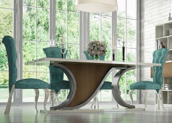 Mesa de comedor fija con tapa de madera, mod: RHIN