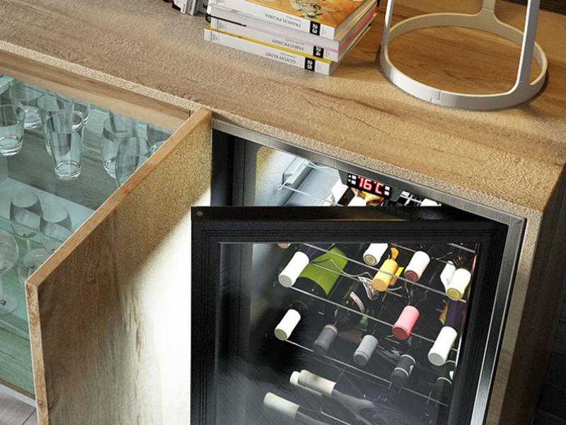 Mueble vinoteca. Mod: RUEDA