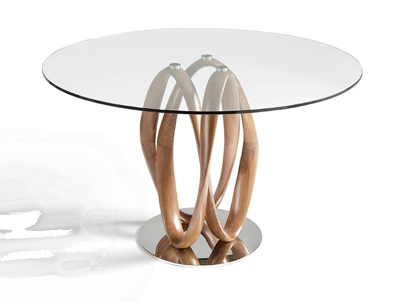 Mesa de comedor redonda con tapa de cristal. Mod. GALA