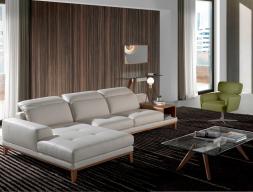 Sofa en piel con chaise longue. Mod. STELLA-L