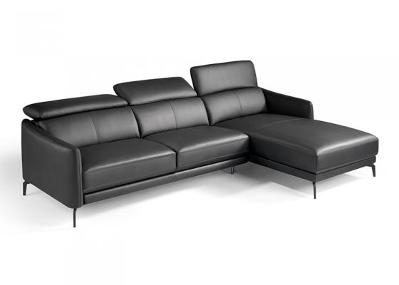 Sofa en piel con chaise longue. Mod. CAELI CL-R
