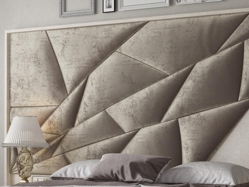 Cabecero tapizado y en madera de roble. Mod: NAUGE XXL