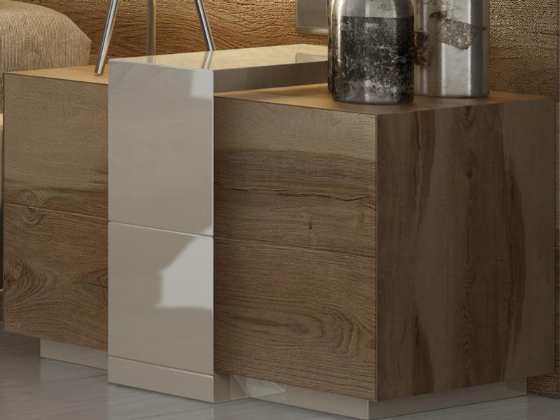 Mesitas en madera de roble con detalles lacados de 2 cajones - juego de 2 unidades. Mod: SOPHIA