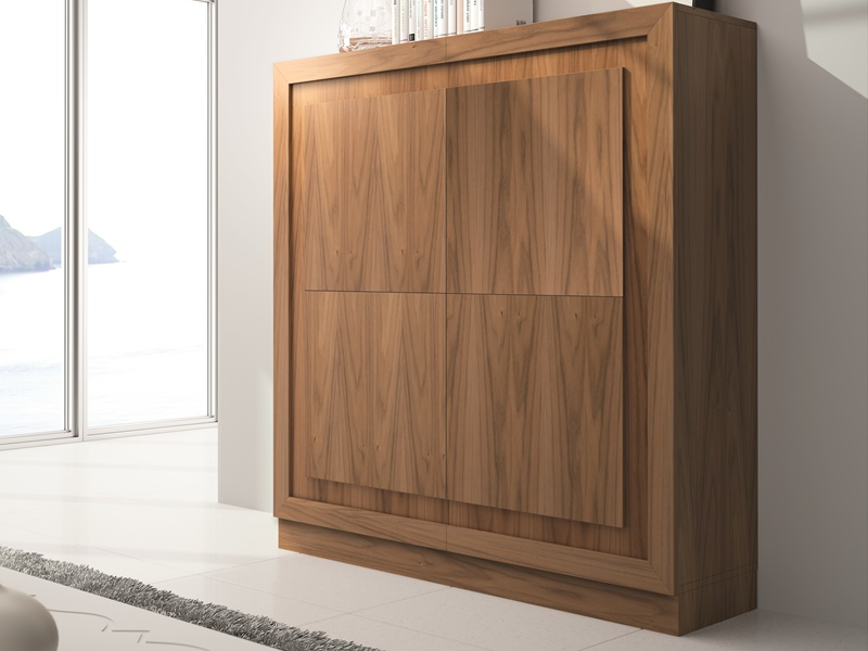 Vitrina con puertas de madera. Mod: PALACE MADERA