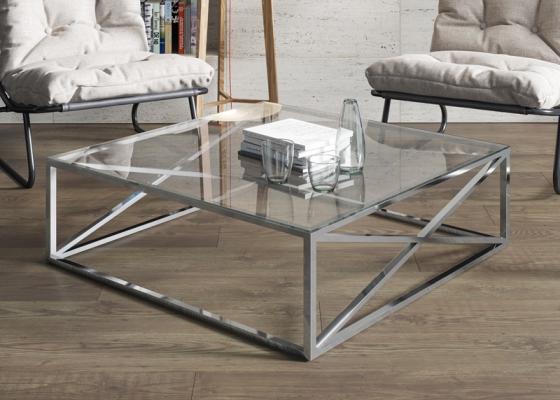 Mesa de centro en acero cromado. Mod: RUSTY