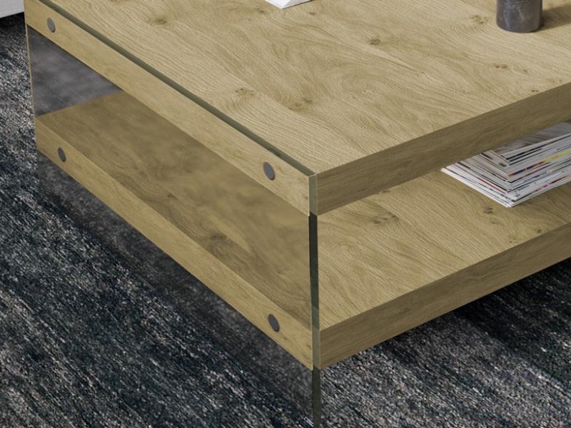 Mesa de centro madera y cristal. Mod: LAZY