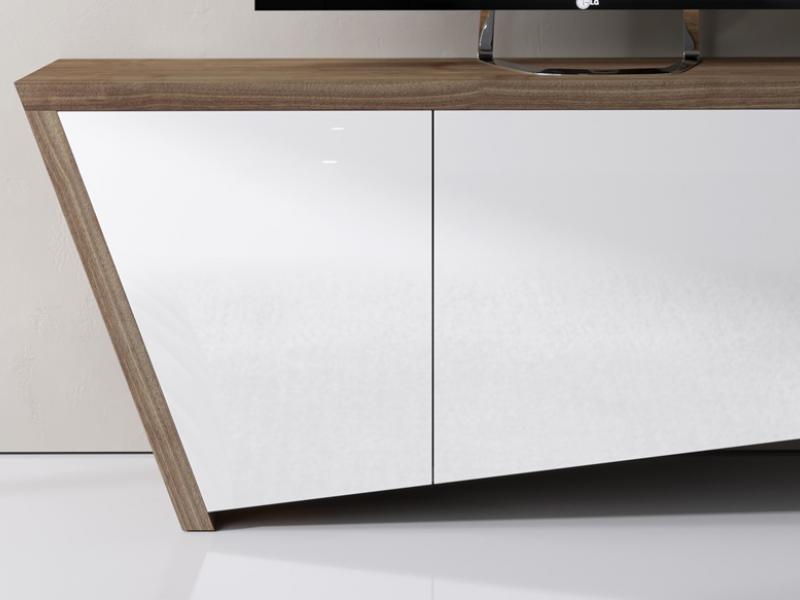 Mueble T.V en nogal y lacado. Mod: DEKO