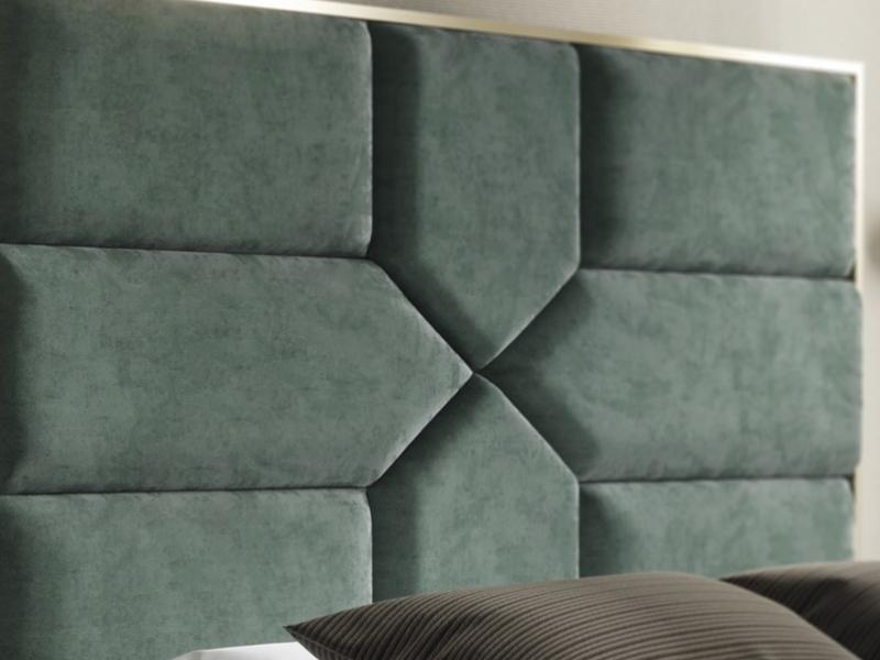 Cabecero tapizado con acero inoxidable. Mod: COLETTE