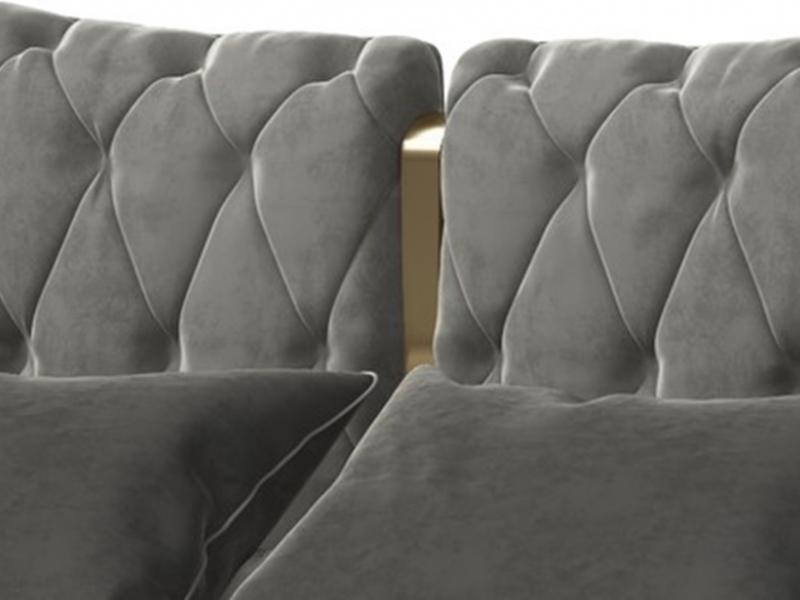 Cabecero tapizado capitonn� con detalle en acero inox. Mod: KAIPA