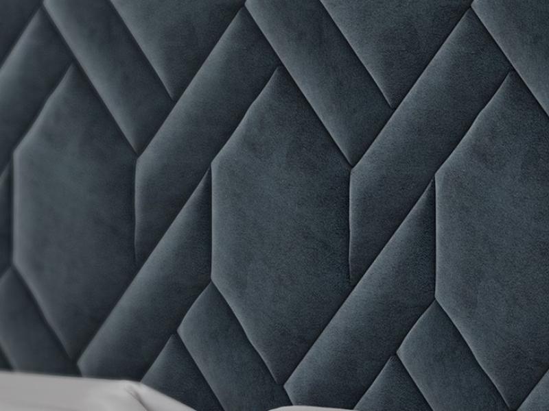 Cabecero tapizado con madera de nogal americano. Mod: DORIANNE NOGAL