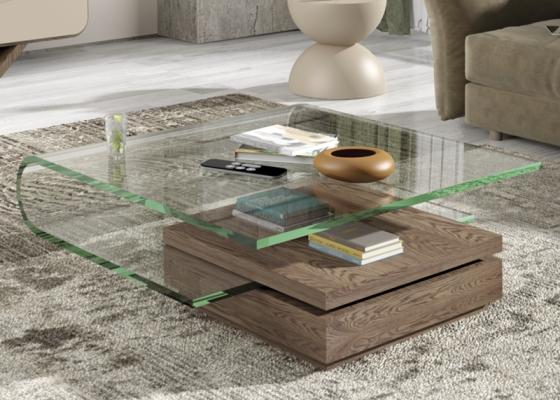 Mesa de centro con tapa de cristal acrílico .Mod: DURBAN