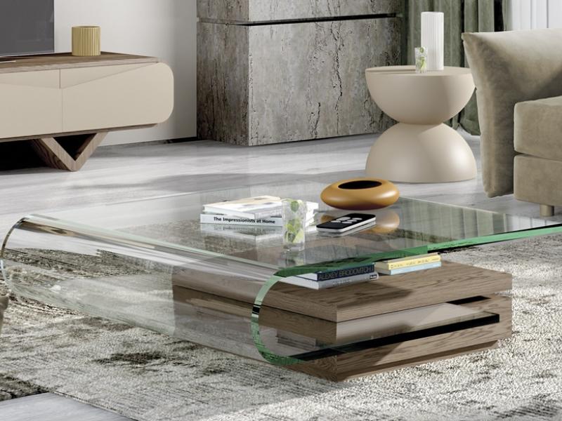 Mesa de centro con tapa de cristal acr�lico .Mod: DURBAN