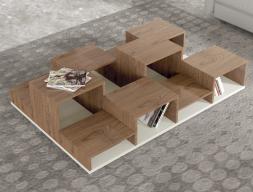 Mesa de centro revistero lacada con madera. Mod: BETULA