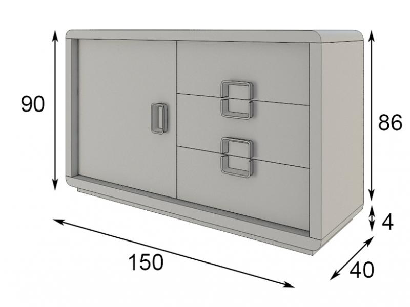 Aparador lacado con puerta y cajones en roble . Mod: SOLEIL